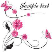 Adorno flor con mariposa — Vector de stock