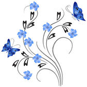 Flower ornament with butterfly — Vector de stock