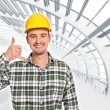 Positive handyman call me gesture — Stock Photo