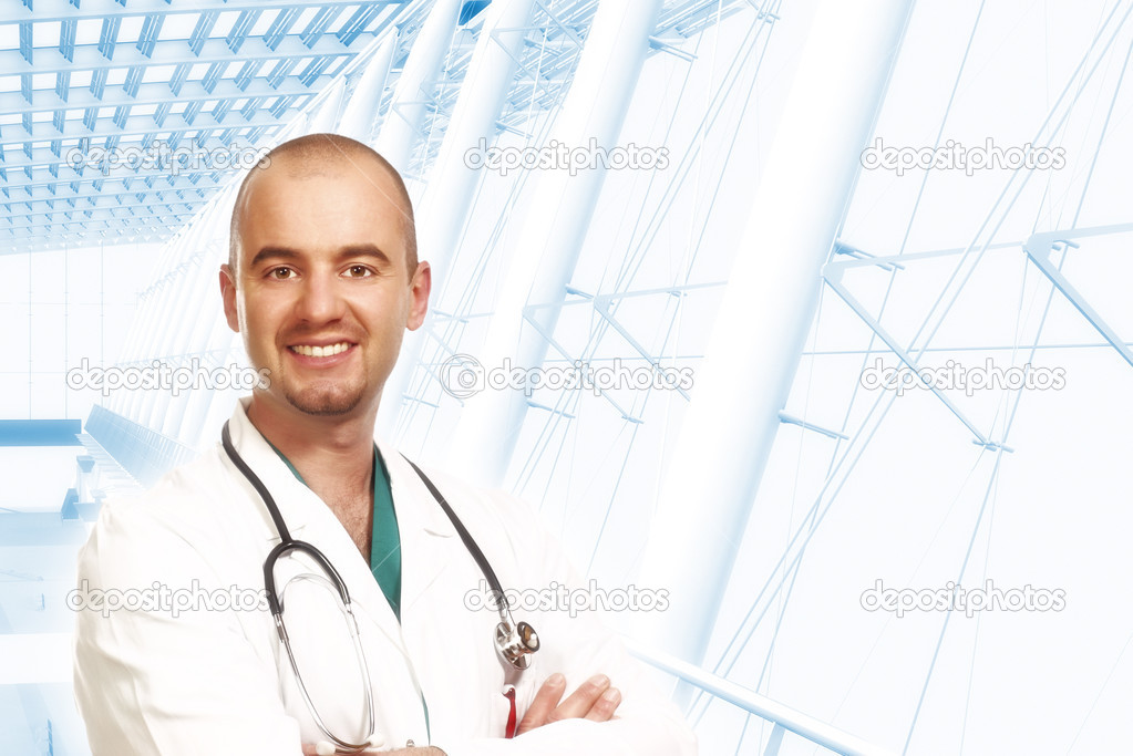 Young confident doctor portrait and modern building background — Stock Photo #2732381