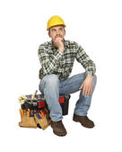 Sit handyman — Stock Photo