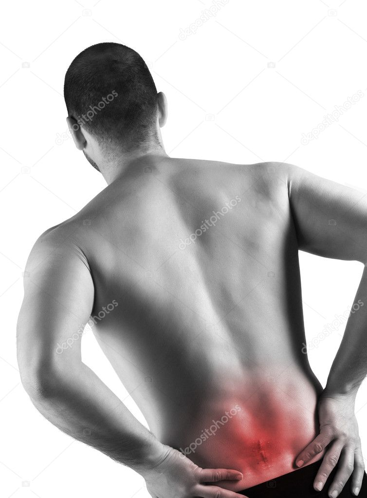 Young caucasian man with pain in a back and serious injury  Foto Stock #2917040