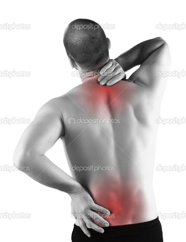 Young man with back pain in the red zone — Stock Photo #2917071