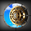 Stock Photo: Vault bank door and sky