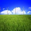 Wind turbine and landscape - Stock Photo