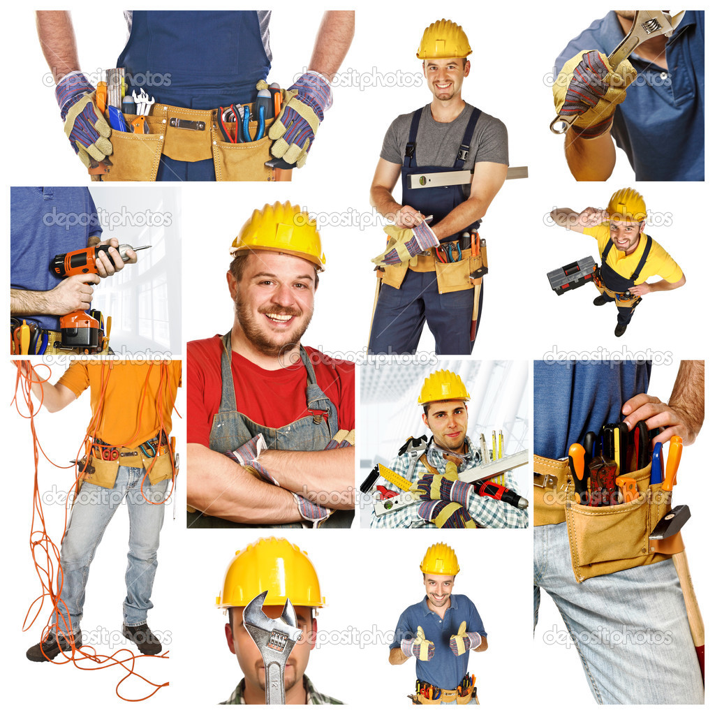 At work, collage picture of different manual workers — Stock Photo #3048632