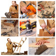 Carpenter at work detail - Foto Stock