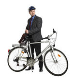 Happy worker with bicycle — Stock Photo