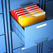 File cabinet and folder — Stockfoto