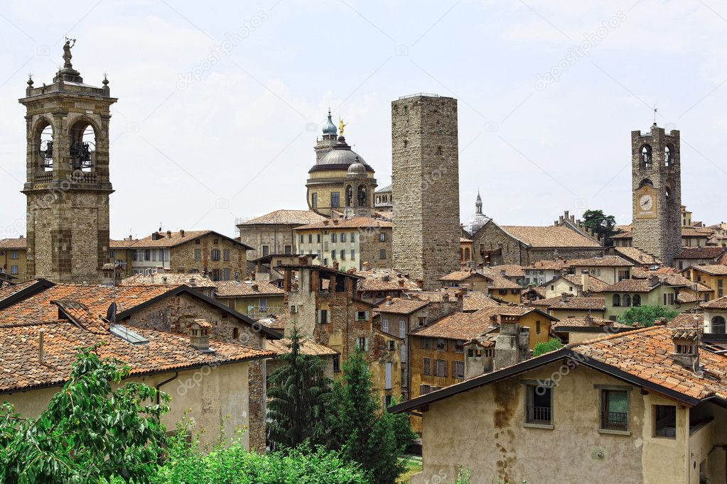 View of bergamo alta italian town  Stock Photo #3332222