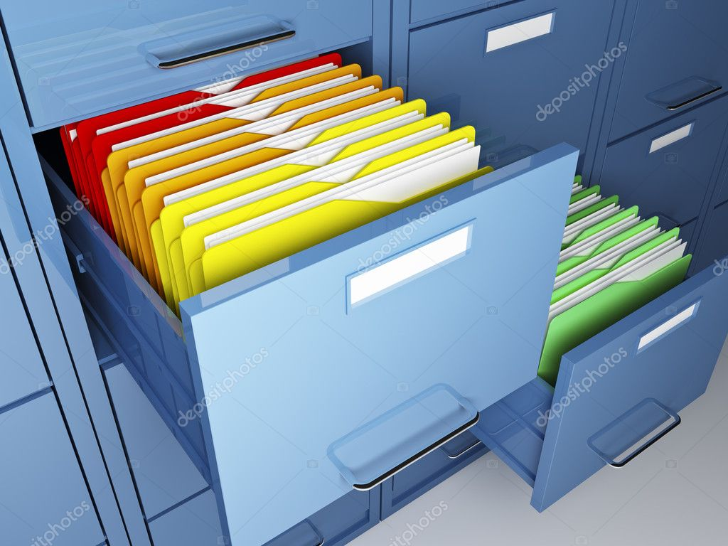 File cabinet detail and colorful folder  Stock Photo #3373088