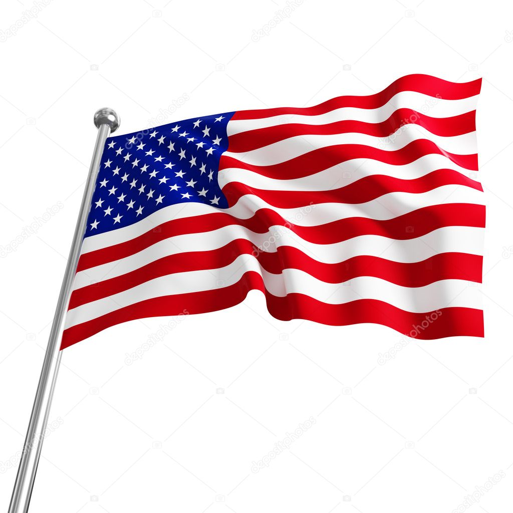 American usa 3d flag on white background — Stock Photo #3378778