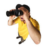 Funny man with binoculars — Stock Photo