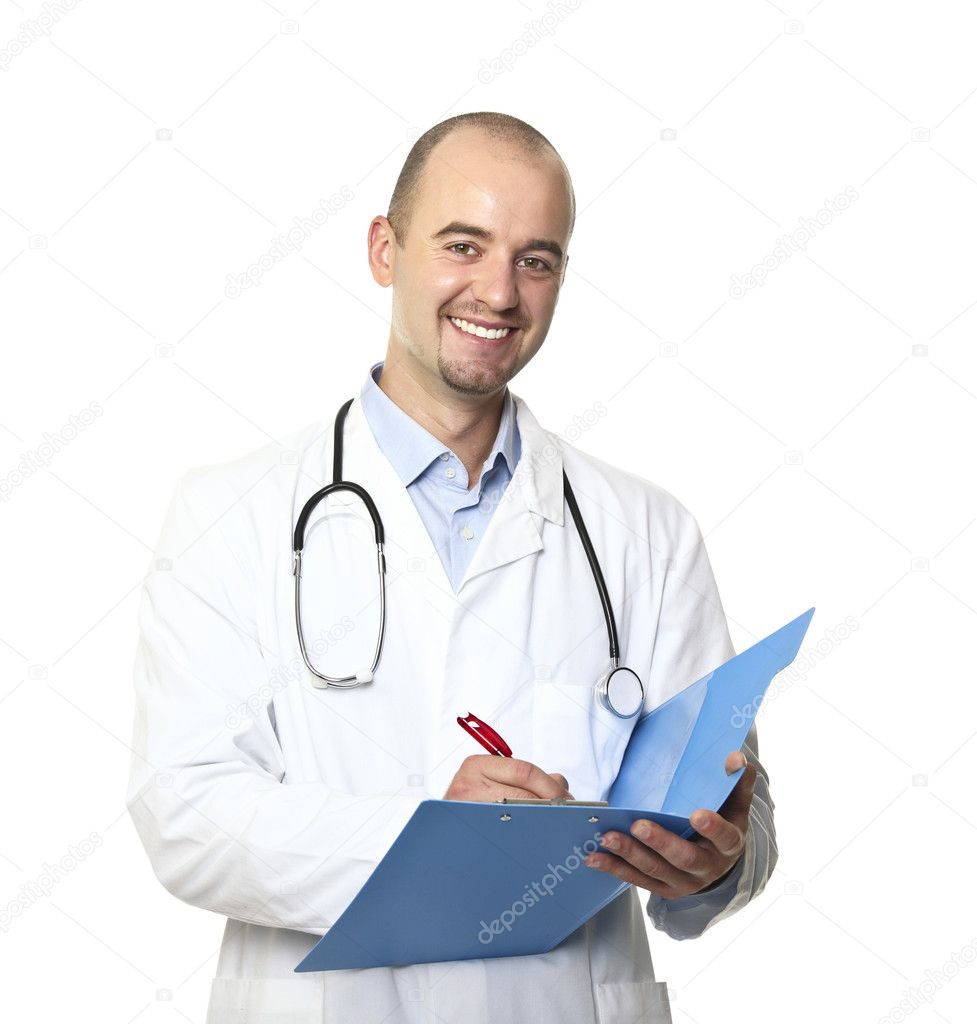 Isolated young caucasian doctor portrait — Foto de Stock   #3518527
