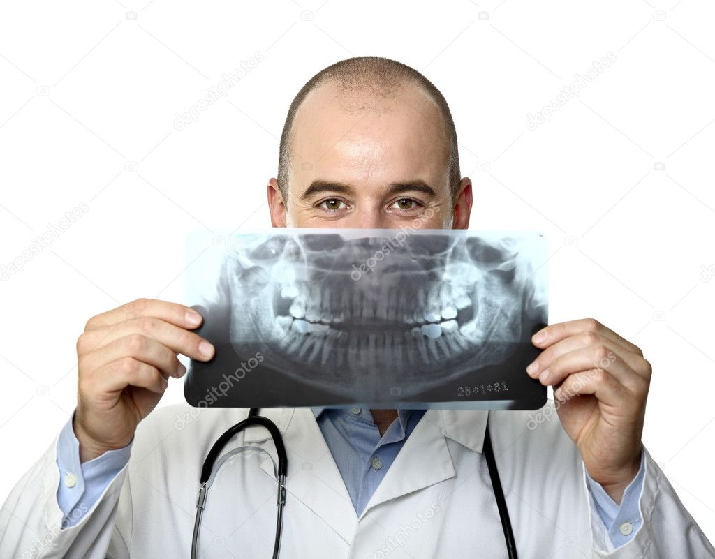 Funny young caucasian doctor and xray joke — Stock Photo #3518554