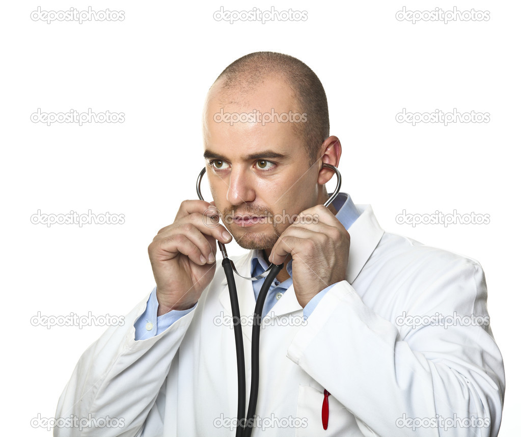 Young doctor use  stethoscope portrait on white background  Stock Photo #3518559