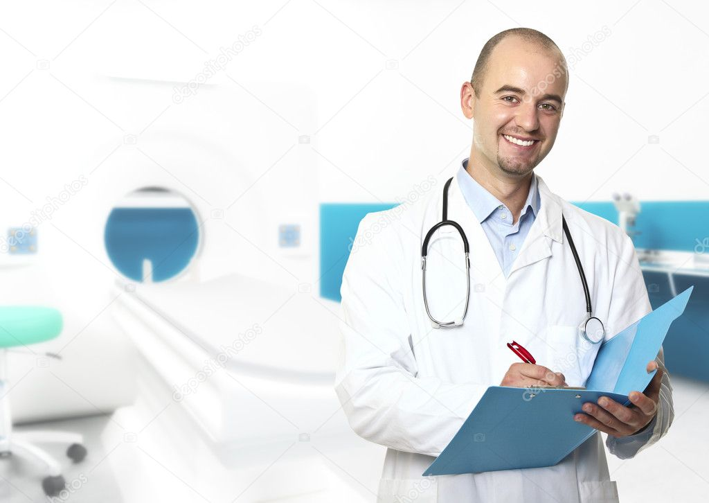 Young caucasian doctor and 3d hospital indoor background — Stock Photo #3518581