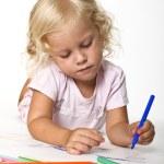 Blonde kid drawing — Stock Photo