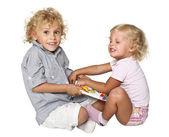 Crianças loiras isoladas — Foto Stock