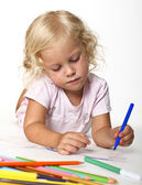 Blonde kid drawing — Stock Photo