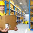 Manual worker with parcel - Stock Photo
