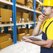 Warehouse and manual worker — Stock Photo