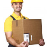 Labor with box — Stock Photo