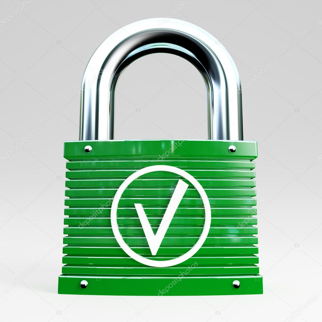 3d green padlock icon of safe connection — Stock Photo #3820774