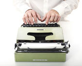 Detail of man with typewriter — Stock Photo