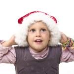 Kid with santa hat — Stock Photo