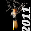 Champagne bottle with shotting cork — Stock Photo