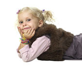 Caucasian blond little girl — Stockfoto