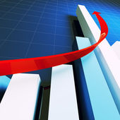 Financial stat and red arrow — Stock Photo