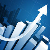 3d stat with growing arrow — Stock Photo