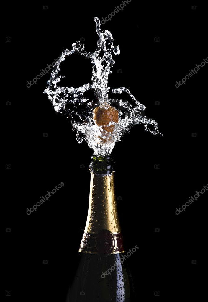 Classic champagne bottle with popping cork background — Stock Photo #3908468