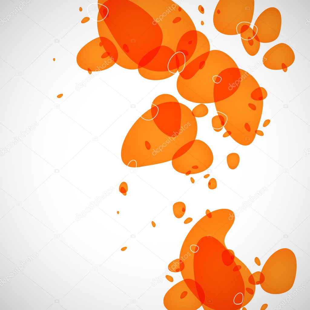 Abstraction of the orange drops on a light background  Stock Vector #3413227