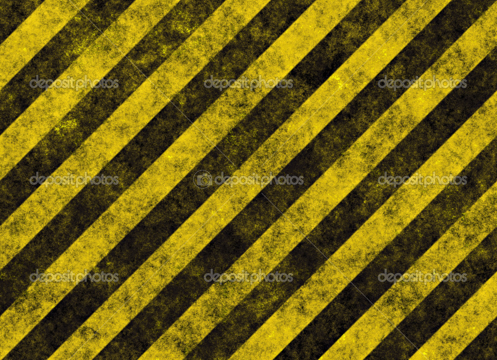 Old grungy yellow hazard stripes on black road  — Stock Vector #2857272