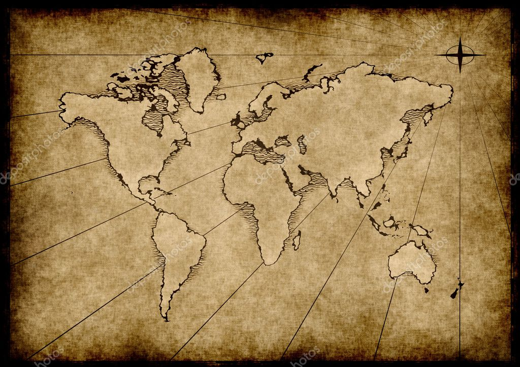 An old world map drawn onto parchment paper — Stock Vector #2857295