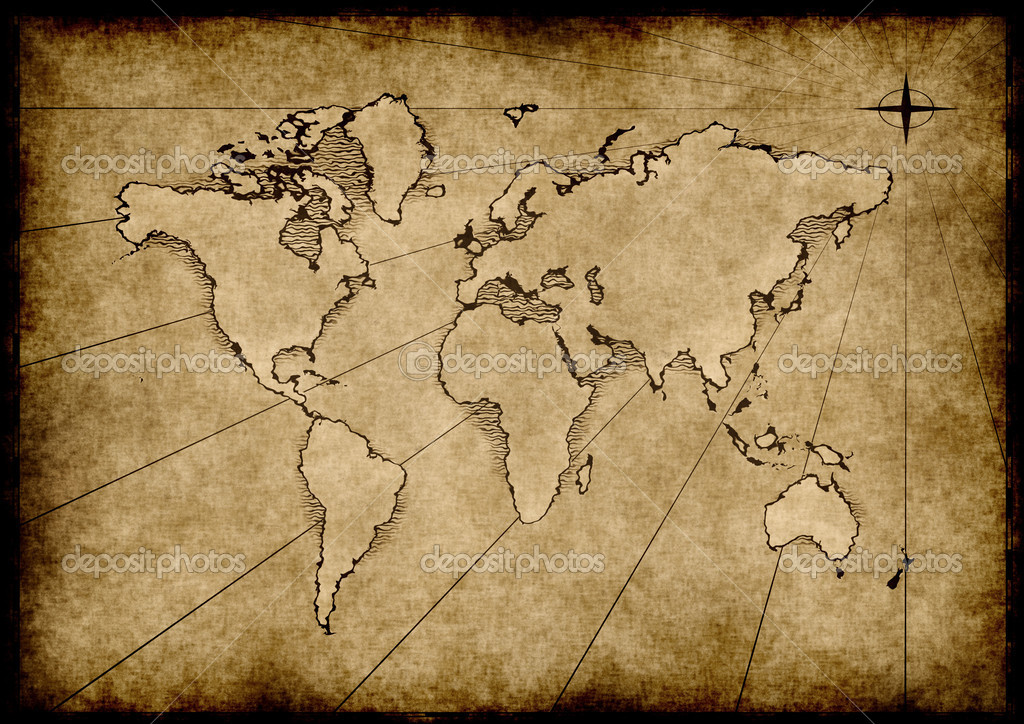 An old world map drawn onto parchment paper — Image vectorielle #2857295