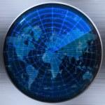 World map radar or sonar — Stock Vector