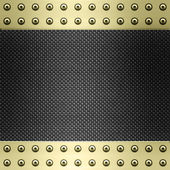 Carbon fibre and gold background — Stock Vector