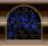 Window looking into space — Stock Vector