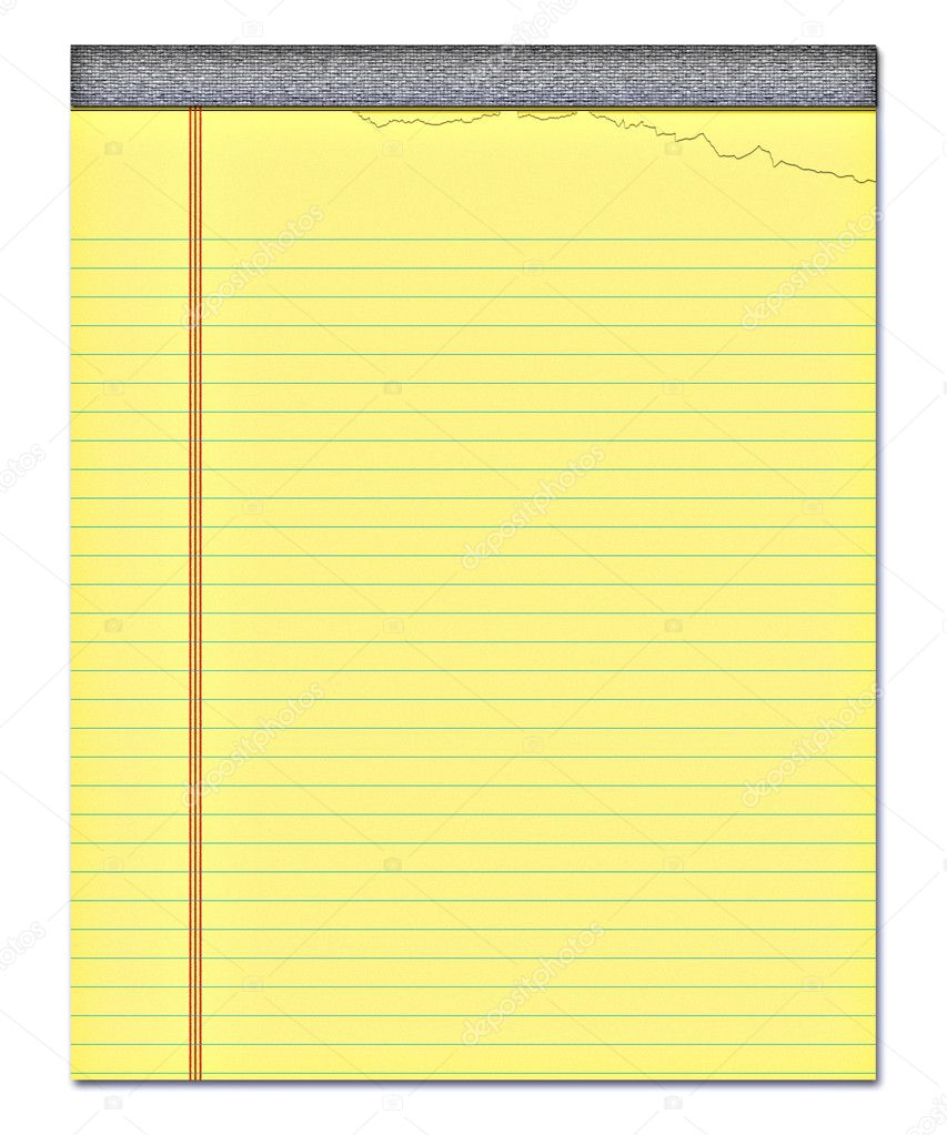 Nice image of a yellow notepad with a page torn off — Stock Vector #2947359