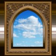 Stock Vector: Gothic or scifi window with blue sky