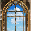 ストックベクタ: Gothic or scifi window with blue sky