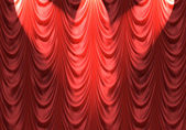 Spotlight on red curtain — Stock Vector