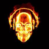 Flaming skull with headphones — Stock Vector