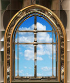 Gothic or scifi window with blue sky — Stok Vektör