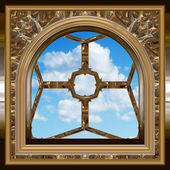 Gothic or scifi window with blue sky — ストックベクタ