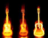 Guitarra fuego ardiendo — Foto de Stock